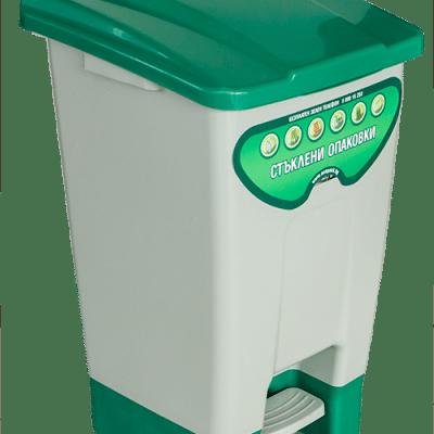 Пластмасов кош с педал със зелен капак– 70 л