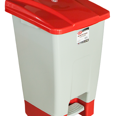 Пластмасов кош с педал с червен капак– 70 л