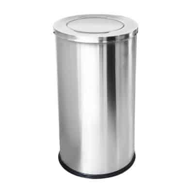 Характеристика: метален INOX, с люлеещ капак  Размери: диаметър 38 см. височина 73 см.