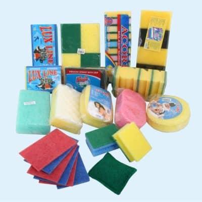 Микрофибърни и попивателни кърпи; гъбки; телчета