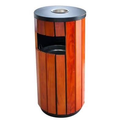 Характеристика: метален с дървени страни, кръгъл. С вътрешен съд за събиране на отпадъците. Размери: 35 диаметър 76 см височина.