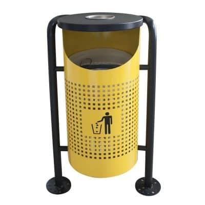 Характеристика:  метален, жълт, с вътрешен съд за отпадъци. Кръгъл. Размери: диаметър 35 см; височина 91 см.