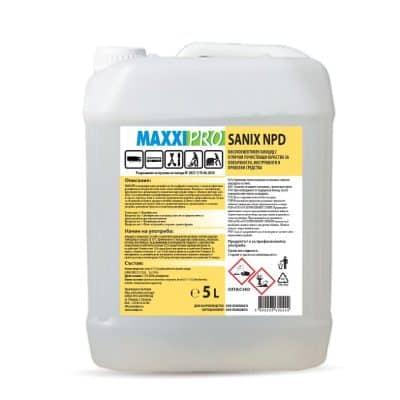 SANIX NPD - дезинфекциращ препарат за повърхности без парфюми и оцветител